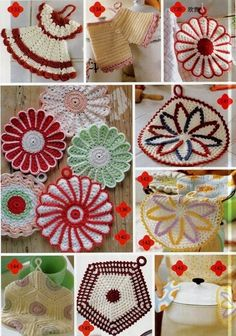 crafts for home: cute dishcloths, free crochet pattern - crafts ideas - crafts for kids Vintage Potholders, Crochet Potholders, Crochet Motifs, Thread Crochet, Crochet Doilies, Crochet Patterns, Crochet Kitchen, Crochet Home, Crochet Gifts