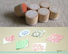 Rubber Stamp Set - All That Lace // Circle, Doily, Pattern, Wedding Stamp, Tag Stamp, Round, Wooden // Set of 6 op Etsy, 6,82 €