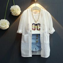 Girls Breathable White Cover-Up Summer Cardigan, Summer Jacket, Long Sleeve Outfits, Short Sleeve Dresses, Summer Coats, Cute Kids Fashion, European Fashion, European Style, Stylish Kids