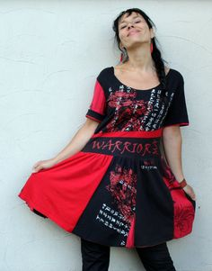 Red and black recycled dress tunic by jamfashion on Etsy, $82.00