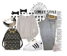 """""""Everyday Street Style"""" by captainsilly ❤ liked on Polyvore featuring Cyan Design, T By Alexander Wang, Moschino, adidas, Versace, Zimmermann and Marc by Marc Jacobs"""