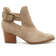 Sole Society Olive Cut-Out Bootie ($100) ❤ liked on Polyvore featuring shoes, boots, ankle booties, dark taupe, summer ankle boots, ankle boots, suede ankle booties, bootie boots and cut out booties