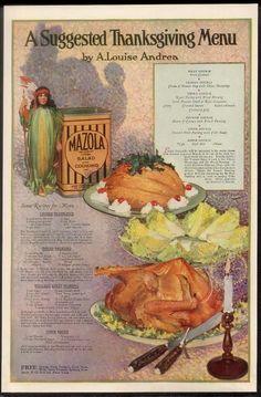 1920 Indian corn girl art Mazola oil Thanksgiving menu & recipes print ad
