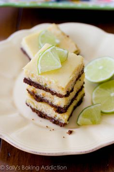 Easy Key Lime Pie Squares - only 6 ingredients! I prefer the graham cracker crust over the ginger snap crust.
