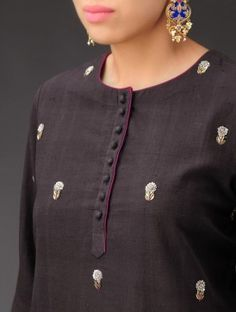 Charcoal-Fuchsia Sequined Floral Embroidered Khadi Kurta