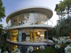 modern spiral glass house
