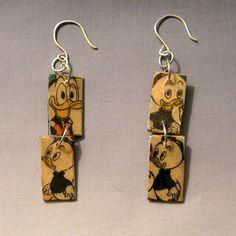 Modge Podge Earrings | recycled disney comic book modge podge