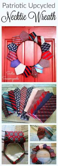Creating a DIY patriotic July wreath is just a thrift store away! Using repurposed neckties in red, white, and blue, you can easily put together some festive door decor for Memorial Day, July or any time of year to celebrate America! Wreath Crafts, Diy Wreath, Wreath Fall, Patriotic Wreath, 4th Of July Wreath, Patriotic Crafts, Patriotic Party, July Crafts, Necktie Quilt