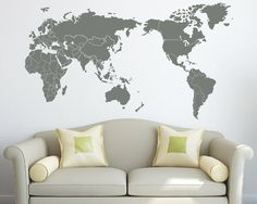 City landmarks of the world its hard to find a wall decal that is wall decal map with countries borders vinyl sticker by zapoart on etsy https gumiabroncs Choice Image