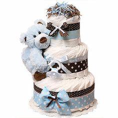 Modern Blue Bear Diaper Cake