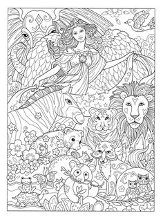Fairy Coloring Pages, Cat Coloring Page, Cool Coloring Pages, Animal Coloring Pages, Printable Coloring Pages, Adult Coloring Pages, Coloring Sheets, Coloring Books, Mandala Coloring