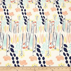 Art Gallery Meadow Summer Grove by Day from @fabricdotcom  Designed by Leah Duncan for Art Gallery Fabrics, this cotton print is perfect for quilting, apparel and home decor accents.  Colors include white, navy, peach, coral, yellow and blue.  Art Gallery Fabric features 200 thread count of finely woven cotton.