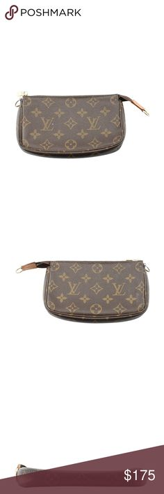 Louis Vuitton Brown Monogram Pochette 135534 •Designer: Louis Vuitton •Exterior Cond: Gently Used •Material: Canvas •Origin: USA •Color: Brown •Interior Lining: Canvas •Interior Color: Brown •Meas (L x W x H): 7x1x4 •Production Code: SD0053 •Overall Cond Description: This Louis Vuitton pochette features: -Exterior shows scuffing in various locations -Exterior leather tabs shows patina and wear -Interior shows scuffing and light wear -Hardware shows tarnishing -This piece is missing the strap…