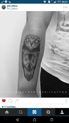 Owl tattoo.  Pricila Adamski.  @ priitattoo