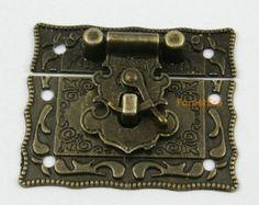 1Pcs Antique Brass Jewelry Box Hasp Latch Lock 51x43mm with Screws (HASP024)