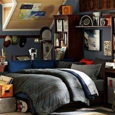 Bedrooms For Young Men With Storage And Grey Walls , Cool Bedrooms For Young Men In Bedroom Category