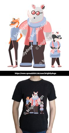 Get this illustrated hipster rhino, fox & badger design on various shirts, hoodies and other accessories - for kids, women and men! Shirt Designs, Animal Fashion, Typography Prints, Badger, Fashion Accessories, Cute Animals, Fox, Hipster, Hoodies
