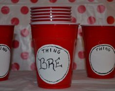 Dr. Seuss Party Cups, Thing 1 thing 2 party cups, Cat in the Hat party cups Hand painted set of 25