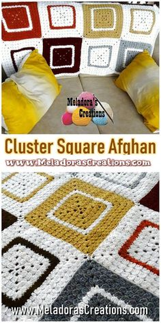 Cluster Granny Square Afghan | Etsy  #crochetpdf #crochetpattern #crochet #crocheting #DIY #yarn #meladora #grannysquare #puffflower #puffflowercrochet #grannyafghan #grannysquareblanket  #meladora #crochetafghan #crochetblanket #couchblanket #babyblanket #babyafghan #cutebabycrochet #easycrochetblanket