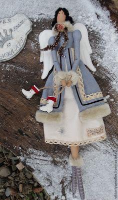 кукла тильда ручной работы ЗИМНИЙ АНГЕЛ - голубой,кукла ручной работы