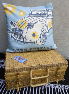 'The Citroen 2CV cushion cover is from a limited edition cushion cover collection, which has been inspired by my affection for iconic vehicles of the past. My original artwork has been digital printed to convey the appearance of the 'offset screen-print' process.   My aim is that owning one or more of these unique cushion covers will evoke reminiscences from an era where vehicles projected personality.' said previous pinner • citroen 2CV print cushion