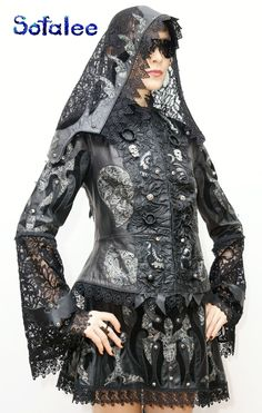 """Black-silver leather jacket with hood, leather skirt """"Aurica"""" Available. Size M. Price $2772 .clothing for the stars exclusive handmade jacket women's leather genuine  information visit www.sofalee.net"""