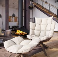 Industrial Loft Deconstructed Quilted Eames Style Chair In Open Plan Fireplace Living Room