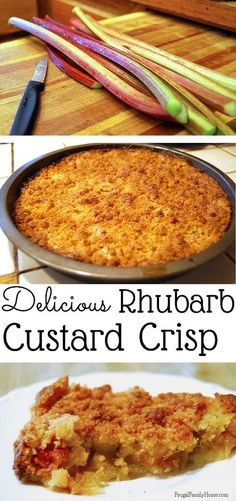Rhubarb Custard Crisp Got rhubarb? Try this yummy summer dessert recipe. Rhubarb Custard Crisp is a blend of sweet and tart flavors in a creamy custard with a yummy crunchy topping. It& a great dessert recipe. Summer Dessert Recipes, Fruit Recipes, Delicious Desserts, Cooking Recipes, Yummy Food, Gluten Free Rhubarb Recipes, Cooking Games, Cake Recipes, Rhubarb Desserts