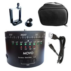 Movo Photo MTP-11 Motorized Panaromic Time Lapse Tripod Head with Variable Speed, Time and Direction with Built-in Rechargeable Battery - For DSLR Cameras, GoPro and Smartphones