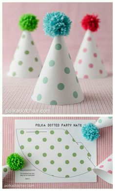 FREE printable Polka Dot Party Hats (+DIY pompom tutorial) by marcy Party Printables, Easter Printables, Free Printable Party, First Birthday Parties, First Birthdays, Diy Birthday Party Hats, Diy Birthday Hat For Cat, Birthday Outfits, Birthday Ideas