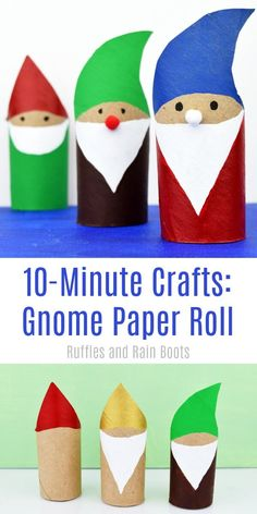 Gnome Paper Roll Craft Fun, Quick, and Adorable! is part of Quick Kids Crafts Christmas - This adorable gnome paper roll craft takes about 10 minutes and the kids love it! Garden crafts, movie night crafts, or Christmas crafts this is a fun time! Diy Christmas Gifts For Kids, Preschool Christmas, Preschool Crafts, Diy For Kids, Norway Crafts For Kids, Garden Crafts For Kids, Christmas Gnome, Kids Fun, Kids Crafts
