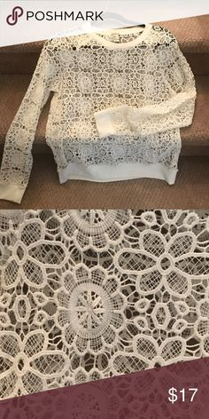 Dainty yet sporty lace sweater Wear something under it, or don't. 😊✌🏽️100% cotton, with elastic cuffs and collar. Change it up with different color camisoles underneath. Wear with jeans, under a jacket, with a skirt or even shorts. Versatile and timeless. (Forever21 large but fits like a 6-8 women's. F21 runs a bit small and this sweater has no stretch) no flaws. Forever 21 Sweaters Crew & Scoop Necks