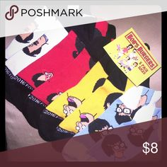 Bobs burgers socks!! Brand new pack just missing one pair! Hot Topic Other
