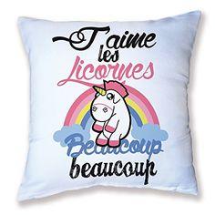 """Décoration Licorne - Coussin """"J'aime Les Licornes beaucoup beaucoup"""""""