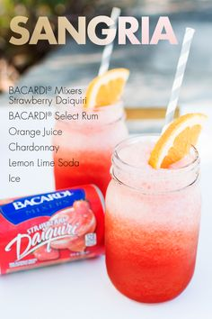 Try this blended cocktail twist on sangria, using your favorite Chardonnay, our frozen Strawberry Daiquiri Mix, orange juice, lemon lime soda and rum. Wine Drinks, Cocktail Drinks, Alcoholic Drinks, Beverages, Bacardi Drinks, Cocktails, Sangria Recipes, Drinks Alcohol Recipes, Cocktail Recipes