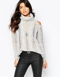 River Island Cold Shoulder Cable Knit Sweater