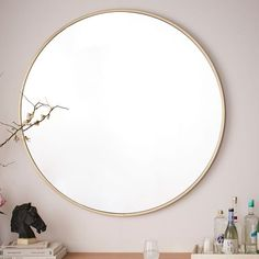 Extra large Metal Framed Oversized Round Mirror from West Elm. Wall Mirrors Metal, Mirror Wall Art, Mirror Tiles, Round Wall Mirror, Floor Mirror, Round Mirrors, Vanity Mirrors, Large Round Mirror, Circular Mirror