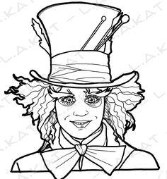 Tim Burton Hatter Drawing