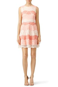 Shades of peach pink brighten this lace ERIN Erin Fetherston dress. Try styling it with nude heels.