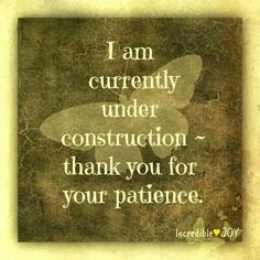 I am currently under construction ~ thank you for your patience.  Aren't we all :)