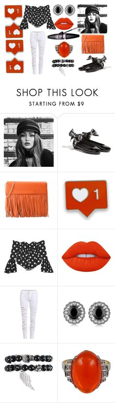 """Black & white pumpkin"" by nives7kelvin ❤ liked on Polyvore featuring Maybelline, Boutique Moschino, Caroline Constas, Lime Crime, Allurez and Eye Candy"