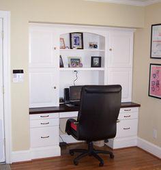 DesksBuilt In Desk Custom built In Desk-a great example of Custom built Ins Large Home Office Furniture, Built In Furniture, Built In Desk, Built In Cabinets, Built Ins, Office Cabinets, Furniture Ideas, Kitchen Desk Areas, Desks For Small Spaces