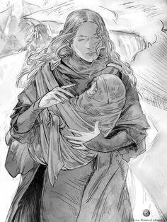Elenwë with Idril on the Helcaraxë