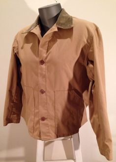 MAKE ME AN OFFER ! ORVIS Fishing Hunting Coat Khaki Brushed Cotton Corduroy Collar Jacket sz 42 #Orvis #SafariHuntingJacket