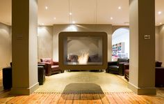 ventless fireplace Suspended Fireplace, Floating Fireplace, Zero Clearance Fireplace, Fireplace Inserts, Fireplace Ideas, Kb Homes, Living Room With Fireplace, My Dream Home, Luxury Homes