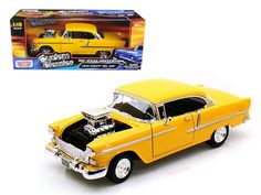 1955 Chevrolet Bel Air Yellow With Blower 1/18 Diecast Car Model by Motormax - Brand new 1:18 scale diecast car model of 1955 Chevrolet Bel Air Yellow With Blower die cast car model by Motormax. Brand new box. Rubber tires. Has opening doors. Has steerable wheels. Made of diecast metal. Detailed interior, exterior. Dimensions approximately L-10, W-4.5, H-3.25 inches. Please note that manufacturer may change packing box at anytime. Product will stay exactly the same.-Weight: 4. Height: 8…