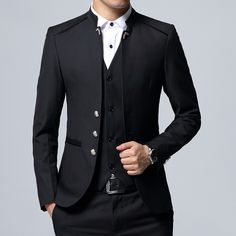 Black Formal Suit Men Blazer Jackets and Pants Fashion Business Mens Suits Size Wedding Suits for Man 2019 suits men 2019 Terno Casual, Terno Slim, Mens Fashion Suits, Fashion Pants, Fashion Wear, Womens Fashion, Slim Fit Jackets, Suit Jackets, Prom Jackets