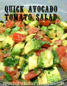 Quick and Easy Avocado Tomato Salad for any mom trying to lose weight after baby!