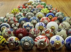 Assorted Multicolour Ceramic Drawers Knobs Door Cupboard Pulls Indian Mix Knobs: Amazon.co.uk: DIY & Tools