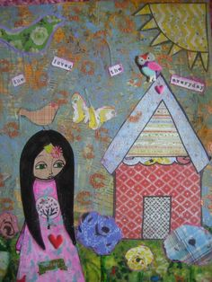 She Loved the Everyday  Original mixed media painting by eltsamp, $88.00